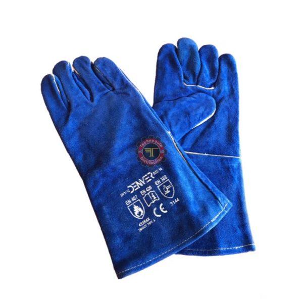 Gant soudure anti chaleur bleu denver équipement de protection individuelle technoquip tunisie industrielle industriel cuir croute de bovin