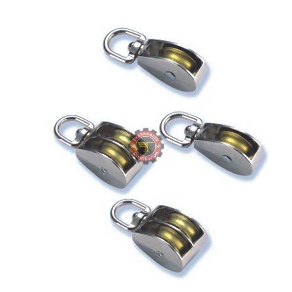 Poulie à anneau chromée simple ou double