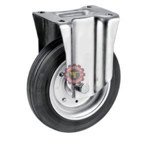Roue à plaque fixe en caoutchouc noir roulement manutention tunisie technoquip roulant pivotant pivotante quincaillerie technoquip