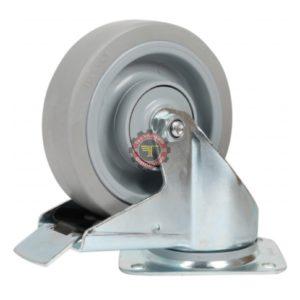 Roue caoutchouc à plaque avec frein roulement manutention tunisie technoquip roulant pivotant pivotante quincaillerie technoquip