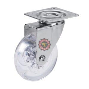 Roue cristal pivotante à moyeu lisse à plaque DN 50 mm roulement manutention tunisie technoquip roulant pivotant pivotante quincaillerie technoquip