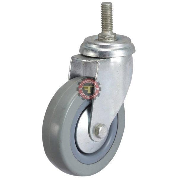 Roue en caoutchouc grise à tige sans frein roulement manutention tunisie technoquip roulant pivotant pivotante quincaillerie technoquip