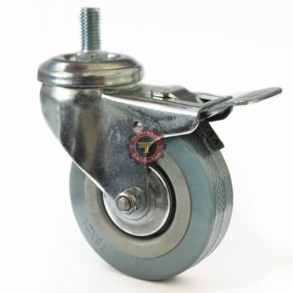 Roue en caoutchouc grise à tige avec frein roulement manutention tunisie technoquip roulant pivotant pivotante quincaillerie technoquip