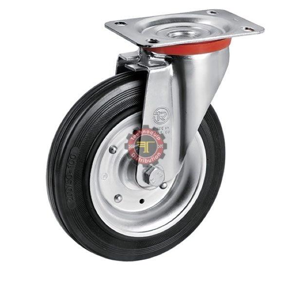 Roue pivotante à plaque caoutchouc noir avec frein roulement manutention tunisie technoquip roulant pivotant pivotante quincaillerie technoquip