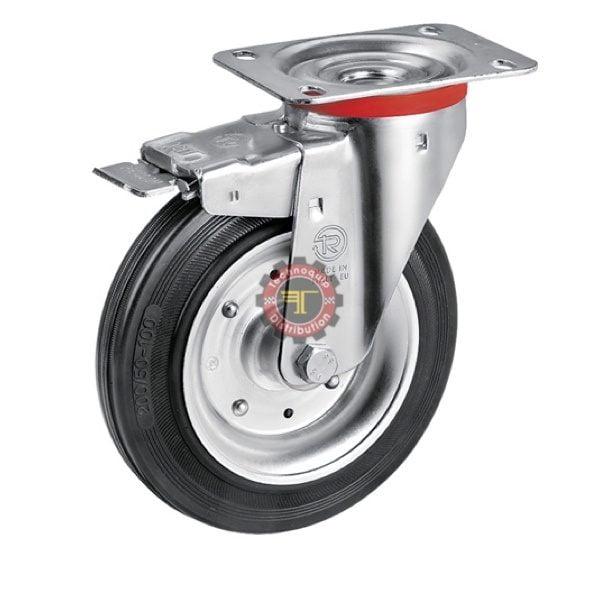 Roue pivotante à plaque caoutchouc noir avec frein avec frein roulement manutention tunisie technoquip roulant pivotant pivotante quincaillerie technoquip