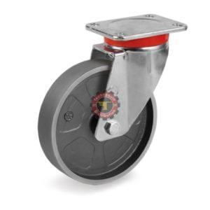 Roue pivotante en fonte et roulement à billes anti-chaleur DN 100 mm roulement manutention tunisie technoquip roulant pivotant pivotante quincaillerie technoquip