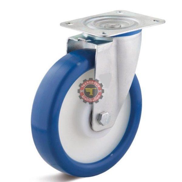Roue pivotante en polyuréthane Bleu moyeu lisse DN 50 mm roulement manutention tunisie technoquip roulant pivotant pivotante quincaillerie technoquip