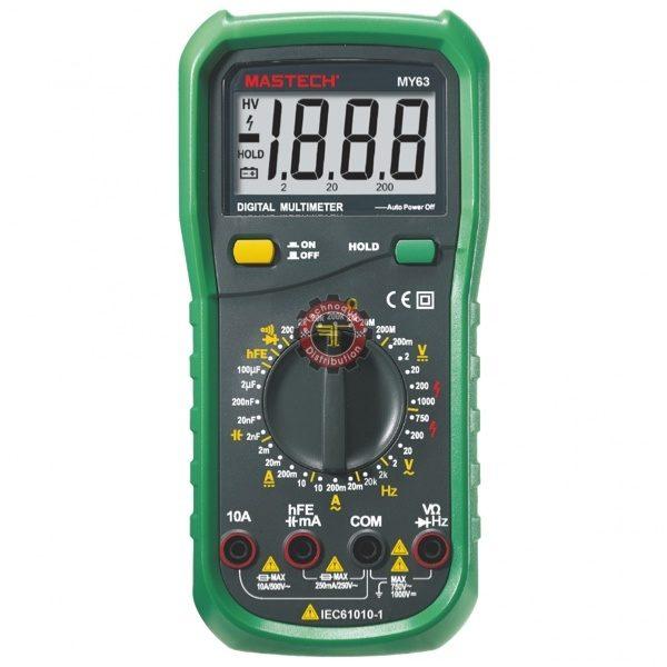 Multimètre MY63 Mastech testeur courant Tunisie technoquip distribution phase réseau ohm volt ampère